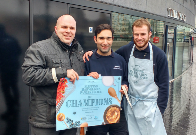 Pancake Race Win at London Bridge City