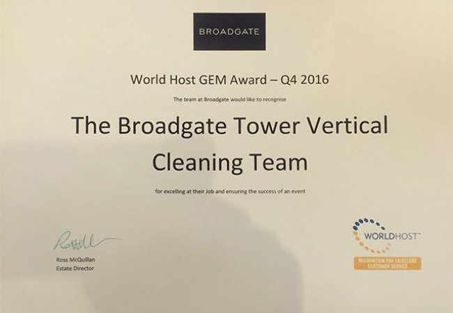 NJC Vertical Team win Broadgate World Host Gem Award